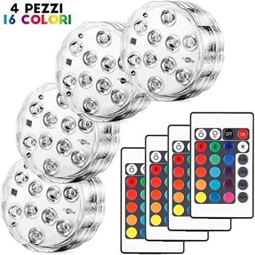 Set di 4 Pezzi Luce a LED RGB Sommergibile Luci Multicolori impermeabili 4 X 10pcs LED SMD con telecomando per Vasi, Giardino, Acquario, Stagno, Piscina, Cristallo, Feste, Natale, Halloween … - 1