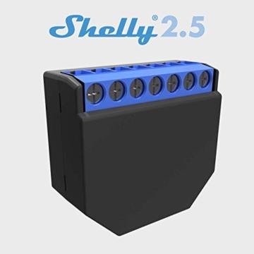 Shelly 2.5PM Interruttore Relè Wi-Fi per il Controllo di Due Circuiti Elettrici con Potenza Massima di 2.3 kW, Compatibile con Amazon Echo e Google Home - 1
