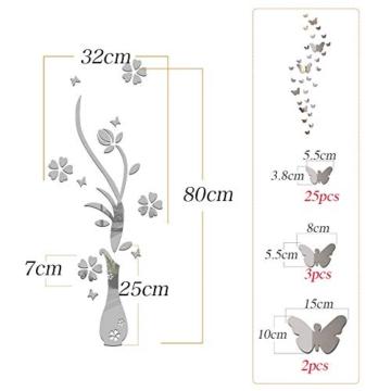 Specchio Adesivo da Parete Vaso Farfalle Argento Decorativo Decorazione per Casa Camera Salotto Bagno Muro Porta Armadio - 3