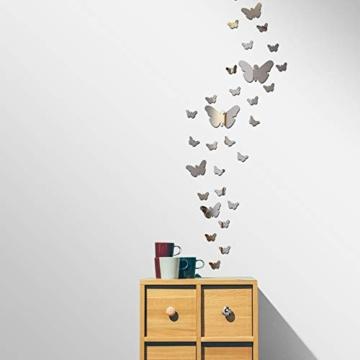 Specchio Adesivo da Parete Vaso Farfalle Argento Decorativo Decorazione per Casa Camera Salotto Bagno Muro Porta Armadio - 4