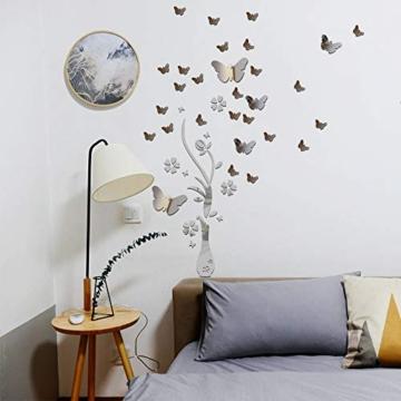 Specchio Adesivo da Parete Vaso Farfalle Argento Decorativo Decorazione per Casa Camera Salotto Bagno Muro Porta Armadio - 6