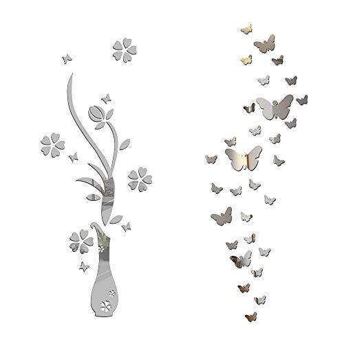 Specchio Adesivo da Parete Vaso Farfalle Argento Decorativo Decorazione per Casa Camera Salotto Bagno Muro Porta Armadio - 1