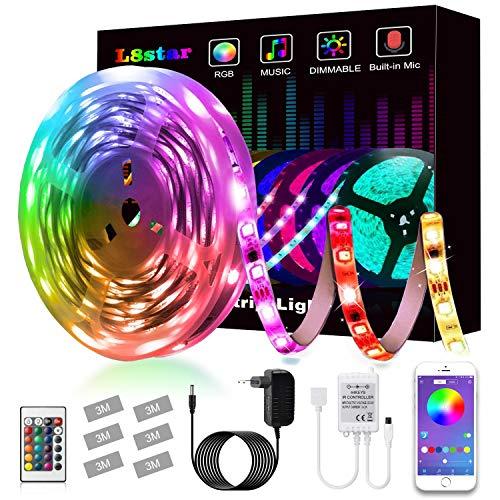 Striscia LED,L8star LED Striscia 5M SMD 5050 RGB Strisce Luminose con Controller Bluetooth Sincronizza con la Musica Adatto per TV,Camera da letto, Decorazioni per feste e per la casa - 1
