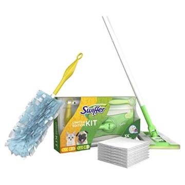Swiffer Kit con 1 Scopa + 8 Panni per Pavimenti e 1 Piumino + 1 Ricambio, Ottimo per Peli di Animali - 2