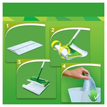 Swiffer Kit con 1 Scopa + 8 Panni per Pavimenti e 1 Piumino + 1 Ricambio, Ottimo per Peli di Animali - 4