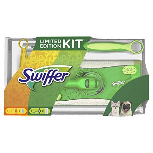 Swiffer Kit con 1 Scopa + 8 Panni per Pavimenti e 1 Piumino + 1 Ricambio, Ottimo per Peli di Animali - 1