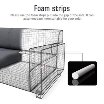 TAOCOCO Copridivano con Penisola Elasticizzato Chaise Longue Sofa Cover Componibile in Poliestere a Forma di L (Grigio, 3 Posti+3 Posti) - 2