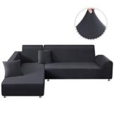 TAOCOCO Copridivano con Penisola Elasticizzato Chaise Longue Sofa Cover Componibile in Poliestere a Forma di L (Grigio, 3 Posti+3 Posti) - 1