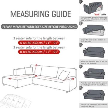TAOCOCO Copridivano con Penisola Elasticizzato Chaise Longue Sofa Cover Componibile in Poliestere a Forma di L (Grigio, 3 Posti+3 Posti) - 4