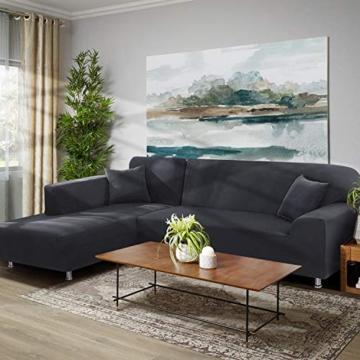TAOCOCO Copridivano con Penisola Elasticizzato Chaise Longue Sofa Cover Componibile in Poliestere a Forma di L (Grigio, 3 Posti+3 Posti) - 5