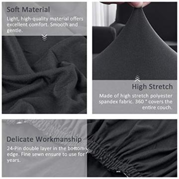 TAOCOCO Copridivano con Penisola Elasticizzato Chaise Longue Sofa Cover Componibile in Poliestere a Forma di L (Grigio, 3 Posti+3 Posti) - 6