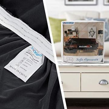 TAOCOCO Copridivano con Penisola Elasticizzato Chaise Longue Sofa Cover Componibile in Poliestere a Forma di L (Grigio, 3 Posti+3 Posti) - 7
