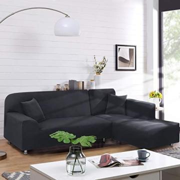 TAOCOCO Copridivano con Penisola Elasticizzato Chaise Longue Sofa Cover Componibile in Poliestere a Forma di L (Grigio, 3 Posti+3 Posti) - 8