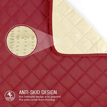 TAOCOCO Copridivano Poltrona Impermeabile Divano Protector Slipcovers (Borgogna, 3 posti 165 * 190cm) - 3