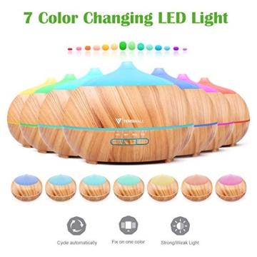 Tenswall 500ml Diffusore di Oli Essenziali con Telecomando, Ultrasuoni Umidificatore Diffusore di Aromi con 7 Colori LED per Yoga, Spa, Ufficio, Casa - 4