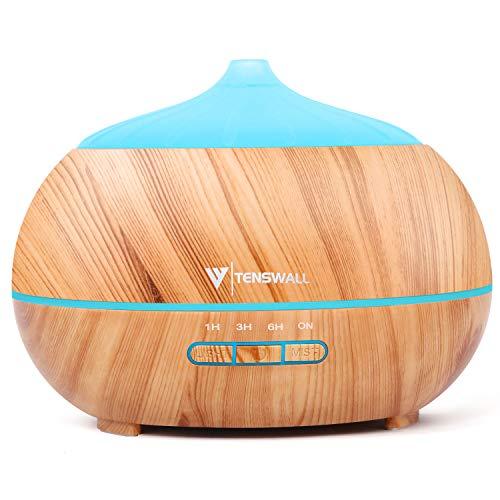 Tenswall 500ml Diffusore di Oli Essenziali con Telecomando, Ultrasuoni Umidificatore Diffusore di Aromi con 7 Colori LED per Yoga, Spa, Ufficio, Casa - 1