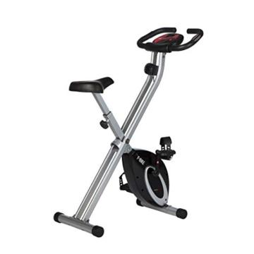 Ultrasport F-Bike, Cyclette da Allenamento, Home Trainer, Bici da Fitness Pieghevole con Computer di Allenamento e Sensori delle Pulsazioni, Peso massimo: 110 kg, Nero - 1