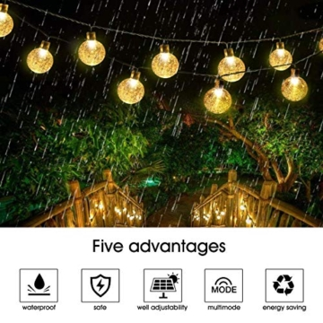 VIFLYKOO Catena Luminosa Solare,Luce Stringa Solare 7M 50 LED Calda Bianca Cristallo Globo IP65 Impermeabili e 8 Modalità Illuminazione per Natale, Giardino,Matrimonio,Festa [Classe energetica A +++] - 2