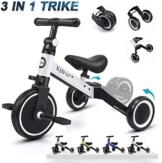 XJD 3 in 1 Triciclo per Bambini Bicicletta Equilibrio Adatto per età 1-3 Anni Certificazione CE (Bianco) - 1