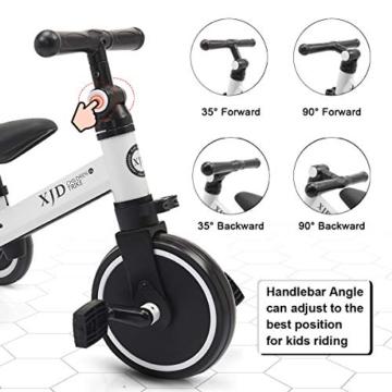 XJD 3 in 1 Triciclo per Bambini Bicicletta Equilibrio Adatto per età 1-3 Anni Certificazione CE (Bianco) - 5