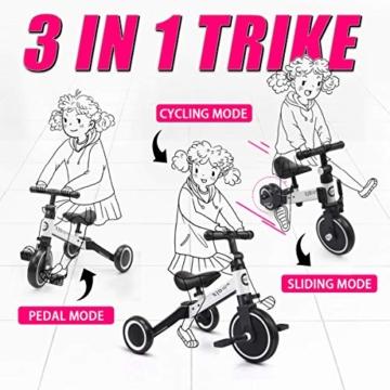 XJD 3 in 1 Triciclo per Bambini Bicicletta Equilibrio Adatto per età 1-3 Anni Certificazione CE (Bianco) - 7