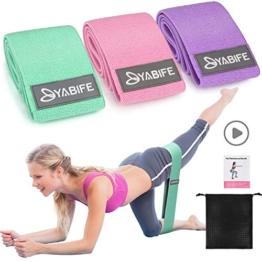 Yabife Set Fasce Elastiche Fitness, Bande Elastiche Fitness con 3 Livelli di Resistenza Portatile Attrezzi Palestra casa per Yoga Pilates Squat Braccia Gambe e Glutei - 1