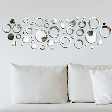 50 pezzi Adesivo Specchio Cerchio Murali da Parete Decorativo Decorazione per Casa Armadio Muro Camera Salotto Bagno 24pz Cerchio Vuoto 26pz Cerchio - 7