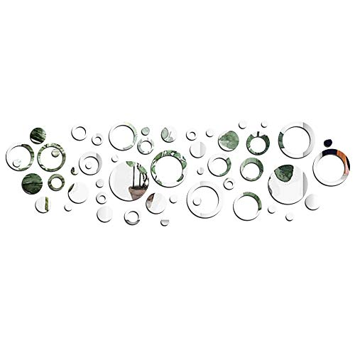 50 pezzi Adesivo Specchio Cerchio Murali da Parete Decorativo Decorazione per Casa Armadio Muro Camera Salotto Bagno 24pz Cerchio Vuoto 26pz Cerchio - 1