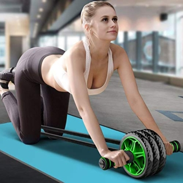 6-in-1 Ab Roller Set con 1x Ginocchiera - 2x Push Up Stand, 2x Fasce di Resistenza per il Fitness, 1x Corda per Saltare, 1x Hand Trainer, Allenamento dei Muscoli Addominali e Costruzione Do - 2