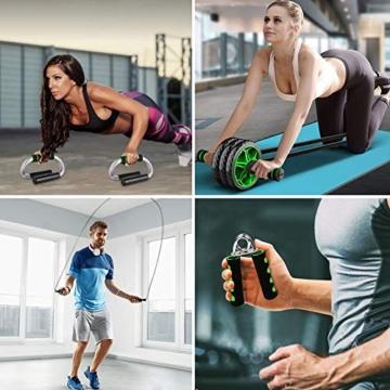 6-in-1 Ab Roller Set con 1x Ginocchiera - 2x Push Up Stand, 2x Fasce di Resistenza per il Fitness, 1x Corda per Saltare, 1x Hand Trainer, Allenamento dei Muscoli Addominali e Costruzione Do - 9