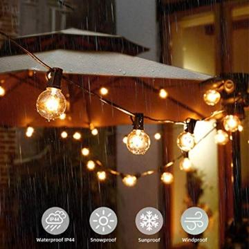 Albrillo Catene Luminose Esterno - 9.3M Light String con Lampadine G40 Bianche Calde 25+5 di Ricambio, Luci da Esterno Interno per Giardino, Terrazza, Balcone, IP44 Impermeabile, Base E12 - 2