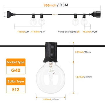 Albrillo Catene Luminose Esterno - 9.3M Light String con Lampadine G40 Bianche Calde 25+5 di Ricambio, Luci da Esterno Interno per Giardino, Terrazza, Balcone, IP44 Impermeabile, Base E12 - 4