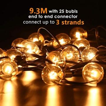 Albrillo Catene Luminose Esterno - 9.3M Light String con Lampadine G40 Bianche Calde 25+5 di Ricambio, Luci da Esterno Interno per Giardino, Terrazza, Balcone, IP44 Impermeabile, Base E12 - 6