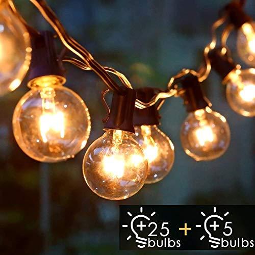 Albrillo Catene Luminose Esterno - 9.3M Light String con Lampadine G40 Bianche Calde 25+5 di Ricambio, Luci da Esterno Interno per Giardino, Terrazza, Balcone, IP44 Impermeabile, Base E12 - 1