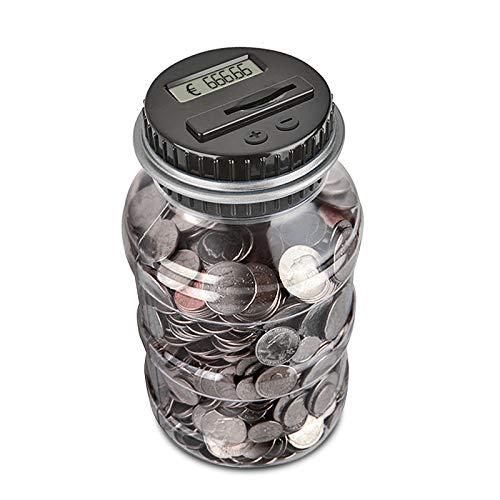 AOZBZ Digitale Salvadanaio Euro Counter, Automatico Coin Counting Soldi Scatola per i Bambini e Adulti, Sicuro Moneta Risparmio Contanti con Display LCD e Grande capacità (Nero) - 1