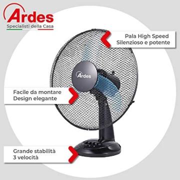 Ardes Penny AR5AM30 Ventilatore da Tavolo, 3 Pale 30 cm con Oscillazione e Inclinazione Regolabile, 3 velocità - 2