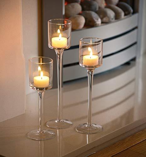 Artis - Set di 3 eleganti portacandele in vetro da usare come centrotavola per matrimoni - 1
