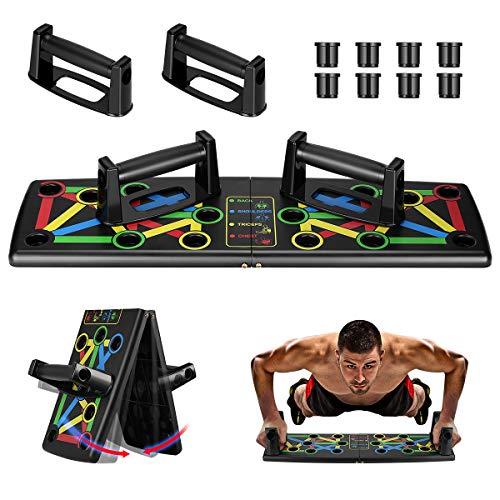 Awroutdoor Push Up Rack Board, 14 in 1 Pieghevole Multifunzionali Body Buiding Push Up Board Attrezzi per Allenamento a Casa Allenamento Fitness - 1