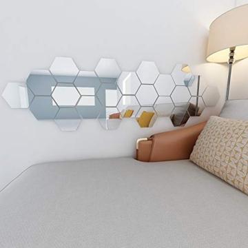 Booly 12 Pezzi Piastrelle Autoadesive Specchio Adesivi Murali Specchio Adesivi 3D Acrilico per Camera da Letto TV Parete Bagno Corridoio Decorazione della Parete (Esagono, 7,2 * 6,3 Pollici) - 3