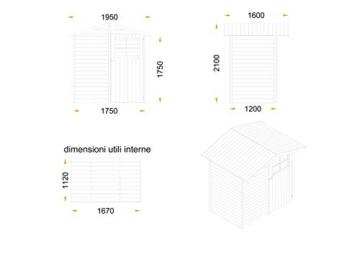 CABEX CO. S.r.l. -Casetta Ricovero Attrezzi da Giardino in Legno, Doghe Spessore 16 mm. Modello [C120], Neutro - 4