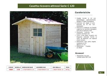 CABEX CO. S.r.l. -Casetta Ricovero Attrezzi da Giardino in Legno, Doghe Spessore 16 mm. Modello [C120], Neutro - 5