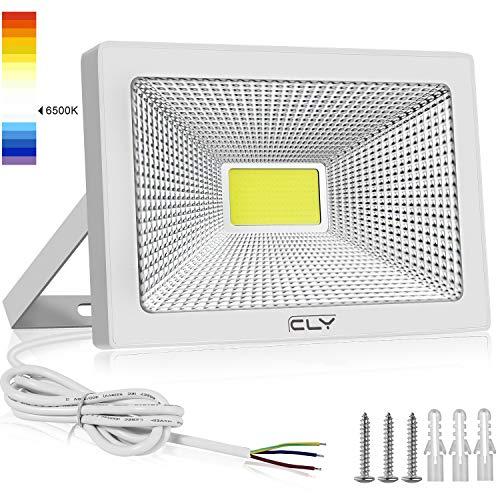 CLY Faretto LED Esterno 50W, Faro LED Esterno 5000Lumens, Luce di sicurezza, Faretti LED, Luce Bianca 6500K Impermeabile IP66 per Giardino Cortile Garage Piazza (50) - 1