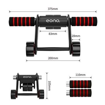 Eono by Amazon - Ab Roller Pieghevole Addominali Wheel con Tappetino Ginocchia Perfetto per Esercizi degli Addominali, Fitness Allenamento, Palestra - 2