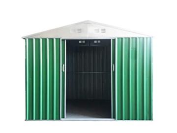 Eurobrico Casetta Garage da Giardino Porta Utensili Box in LAMIERA ZINCATA 0,27 mm Verniciata di Verde con Porte scorrevoli (XL L267 x P300 x H194) - 3