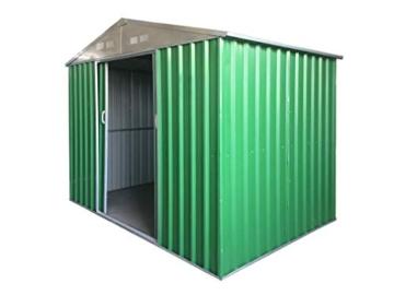 Eurobrico Casetta Garage da Giardino Porta Utensili Box in LAMIERA ZINCATA 0,27 mm Verniciata di Verde con Porte scorrevoli (XL L267 x P300 x H194) - 1