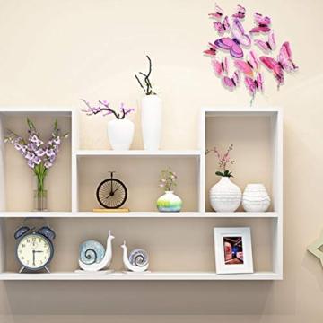 Farfalla artificiale a doppia ali 3D, decorazione di nozze/festa/casa, farfalla di simulazione artigianale, adesivo da parete farfalla misto 6 colori, 12 pezzi (Rosa) - 4