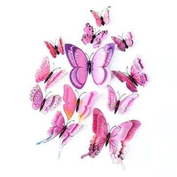 Farfalla artificiale a doppia ali 3D, decorazione di nozze/festa/casa, farfalla di simulazione artigianale, adesivo da parete farfalla misto 6 colori, 12 pezzi (Rosa) - 1