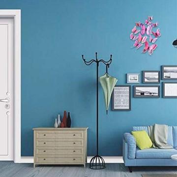 Farfalla artificiale a doppia ali 3D, decorazione di nozze/festa/casa, farfalla di simulazione artigianale, adesivo da parete farfalla misto 6 colori, 12 pezzi (Rosa) - 5