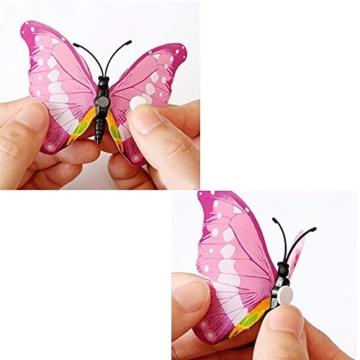 Farfalla artificiale a doppia ali 3D, decorazione di nozze/festa/casa, farfalla di simulazione artigianale, adesivo da parete farfalla misto 6 colori, 12 pezzi (Rosa) - 6