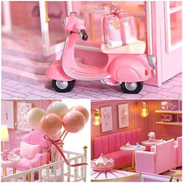 Fsolis Miniatura casa delle Bambole con mobili,3D Fai da Te Kit di Dollhouse di Legno Oltre a Prova di Polvere e Il Movimento della Musica Regalo Creativo - 3